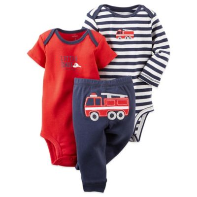 Carter's® Preemie 3-Piece Firetruck Bodysuit and Pant Set in Navy/Red