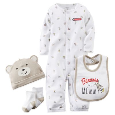 "Carter's® Preemie ""Bananas over Mommy"" Convertible Gown, Bib, Hat, and Sock Set in Ivory/Tan"