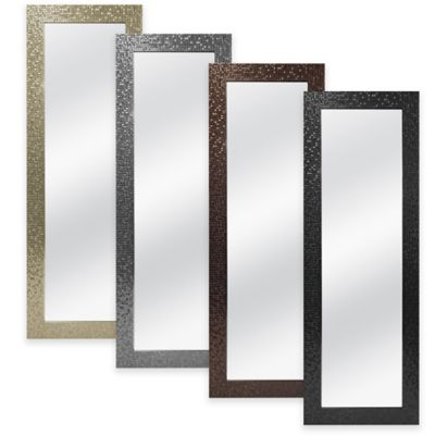 Over-the-Door 50-Inch x 14-Inch Rectangular Mosaic Tile Mirror in Black