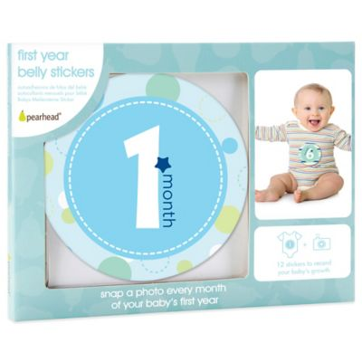 Pearhead First Year Baby Belly Stickers in Blue