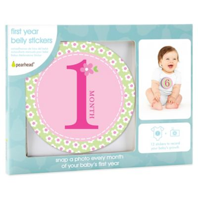 Pearhead First Year Baby Belly Stickers in Pink