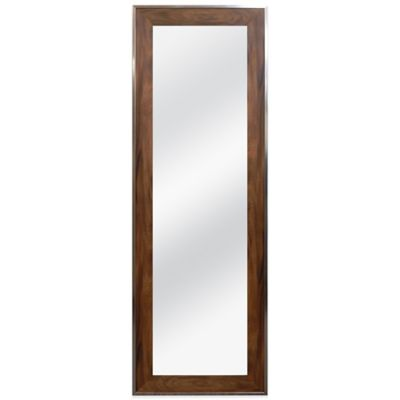 Over the Door 55-3/8 Inch x 19-3/8 Inch Rectangular Mirror in Walnut