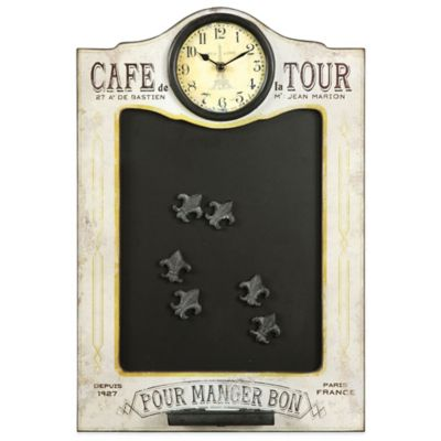 Uttermost Cafe de la Tour Wall Chalkboard and Clock in Ivory
