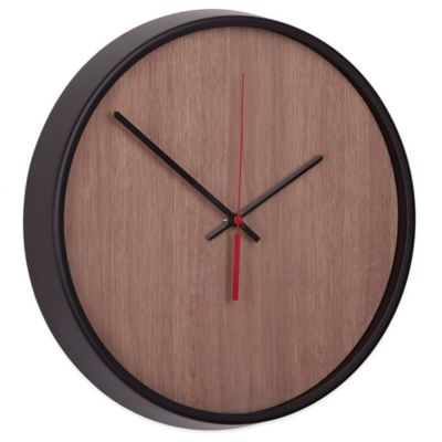 Umbra Madera Wall Clock in Black/Brown