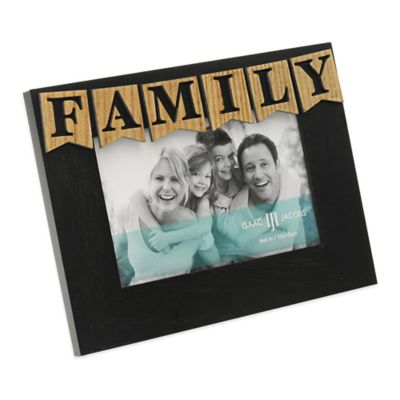 "Isaac Jacobs 4-Inch x 6-Inch ""Family"" Hardwood Frame in Black"