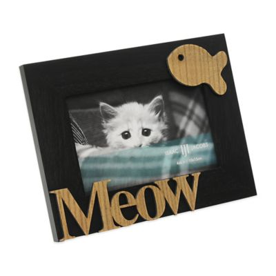 "Isaac Jacobs 4-Inch x 6-Inch Cat ""Meow"" Hardwood Frame in Black"