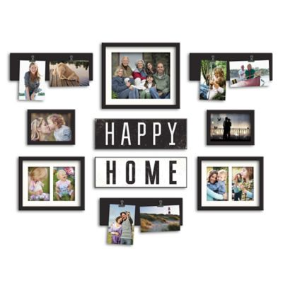 "WallVerbs™ 10-Piece ""Happy Home"" Photo Frame Collection in Satin Black"
