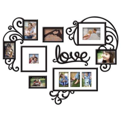 """Wallverbs™ 7-Piece """"Love"""" Photo Frame Set in Satin Black"""