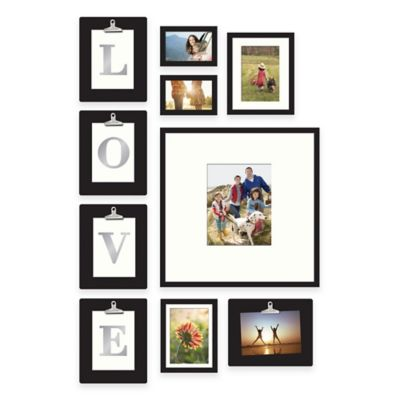 "Wallverbs™ 10-Piece ""LOVE"" or ""HOME"" Clipped Letter Frame Set in Satin Black"