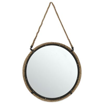 20-Inch Round Rope Mirror in Brown