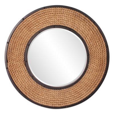Howard Elliott 36-Inch Round South Hampton Mirror in Brown/Black