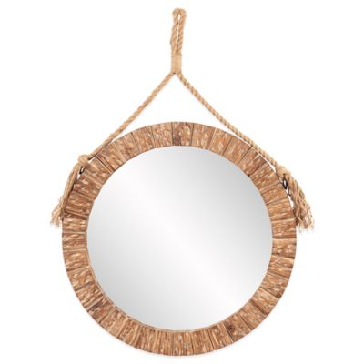 Howard Elliott Caleb 32-Inch Round Mirror in Brown