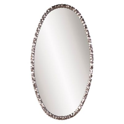 Buy decorative oval mirror with silver finish from bed for Fancy oval mirror