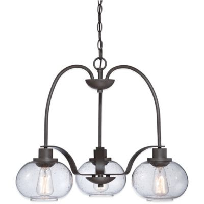Quoizel Trilogy 3-Light Dinette Chandelier in Old Bronze with Seeded Glass Shade