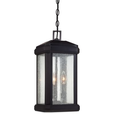 Quoizel Trumbull Ceiling-Mount Outdoor Large Hanging Lantern in Mystic Black