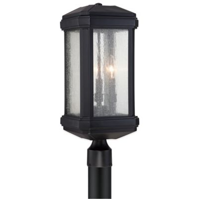 Quoizel Trumbull Post-Mount Outdoor Lantern in Mystic Black