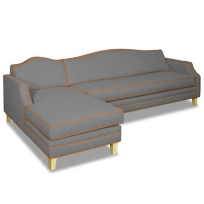 Kyle Schuneman for Apt2B Blackburn 2-Piece Left Arm Facing Sectional in Grey with Cream Piping