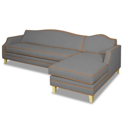 Kyle Schuneman for Apt2B Cloverdale 2-Piece Right Arm Facing Sectional in Grey with Coal Piping