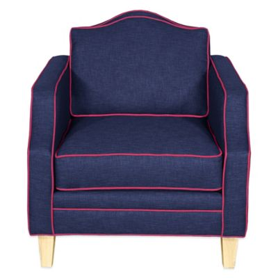 Kyle Schuneman for Apt2B Blackburn Chair in Navy with Ocean Blue Piping