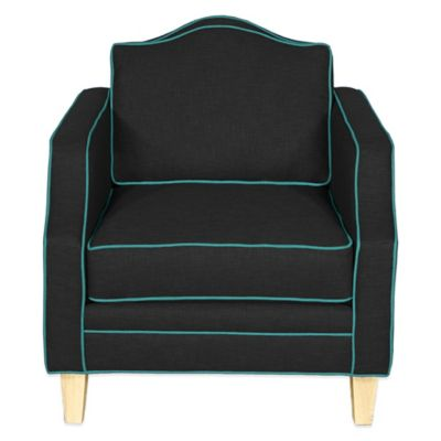 Kyle Schuneman for Apt2B Blackburn Chair in Coal with Ocean Blue Piping