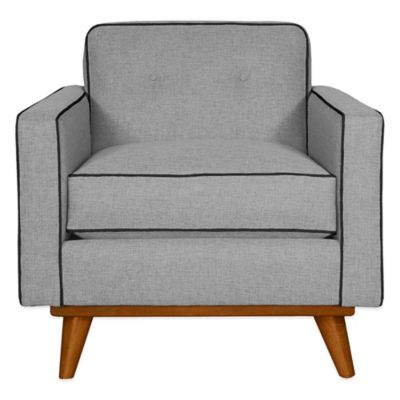 Kyle Schuneman for Apt2B Clinton Chair in Grey with Ocean Blue Piping