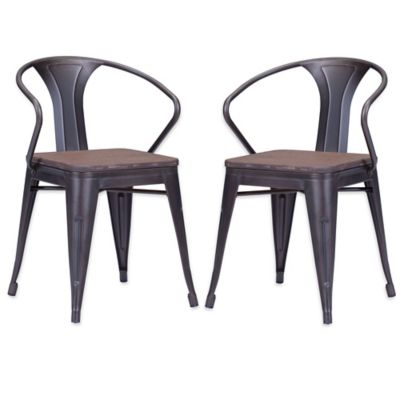 Zuo® Helix Dining Chairs in Rustic Wood (Set of 2)