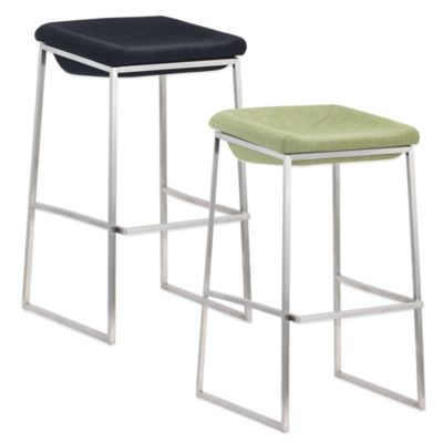 Zuo® Lids Short Barstool in Green (Set of 2)