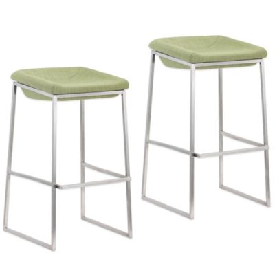 Zuo® Lids Tall Barstool in Green (Set of 2)