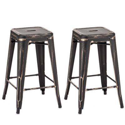 Zuo® Marius Counter Stool in Antique Black/Gold (Set of 2)