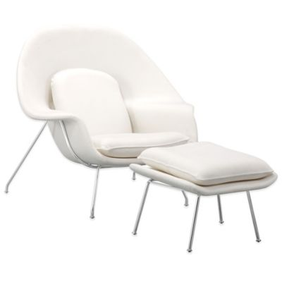 Zuo® Nursery Occasional Chair & Ottoman in White