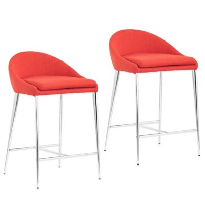 Zuo® Reykjavik Counter Chair in Tangerine (Set of 2)