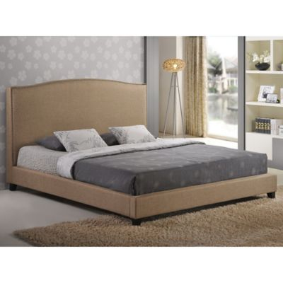 Baxton Studio Aisling Queen Fabric Platform Bed with Headboard in Dark Beige