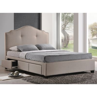 Baxton Studio Armeena Queen Linen Platform Storage Bed with Headboard in Beige