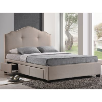 Baxton Studio Armeena King Linen Platform Storage Bed with Headboard in Beige