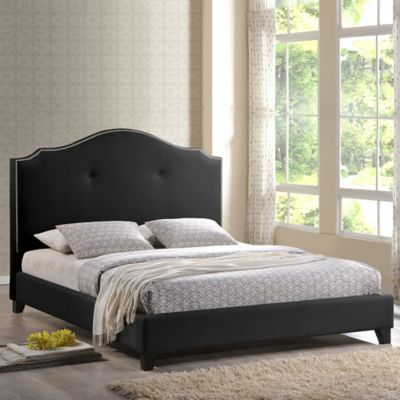 Baxton Studio Marsha Queen Scalloped Bed with Headboard in Black