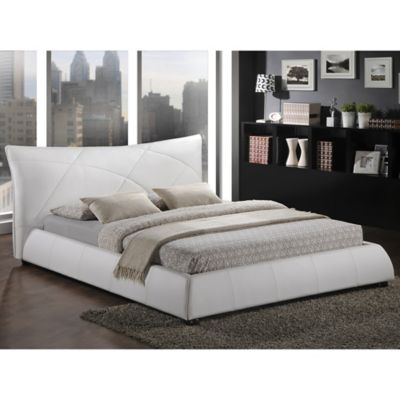 Baxton Studio Corie Queen Platform Bed with Headboard in White