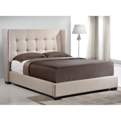 Baxton Studio Favela Queen Linen Platform Bed with Headboard in Light Beige