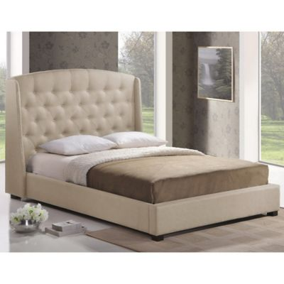 Baxton Studio Ipswich Queen Linen Platform Bed with Headboard in Light Beige