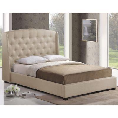 Baxton Studio Ipswich King Linen Platform Bed with Headboard in Light Beige