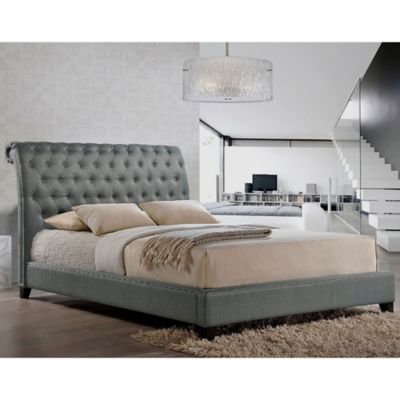Baxton Studio Jazmin Queen Tufted Modern Platform Bed with Headboard in Light Beige