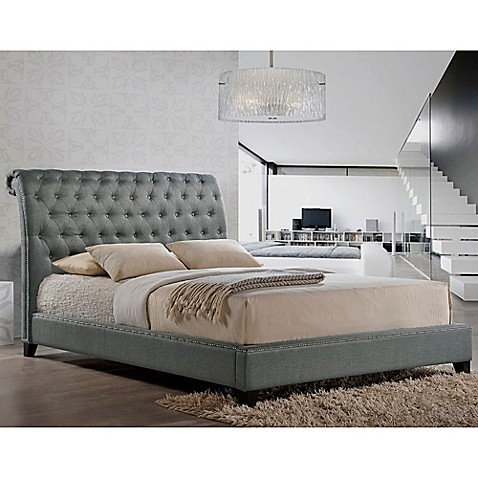 buy baxton studio jazmin queen tufted modern platform bed with headboard in grey from bed bath. Black Bedroom Furniture Sets. Home Design Ideas