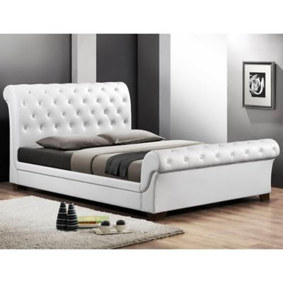 Baxton Studio Leighlin Queen Platform Sleigh Bed with Headboard in Black
