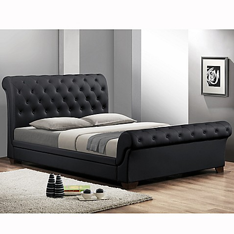 Queen platform sleigh bed with headboard in black from bed bath