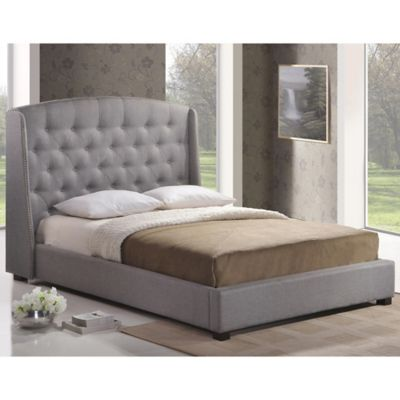 Baxton Studio Ipswich Queen Linen Platform Bed with Headboard in Dark Beige