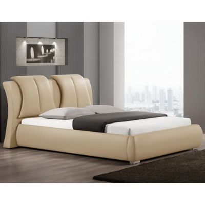 Baxton Studio Malloy Queen Designer Platform Bed with Headboard in Taupe