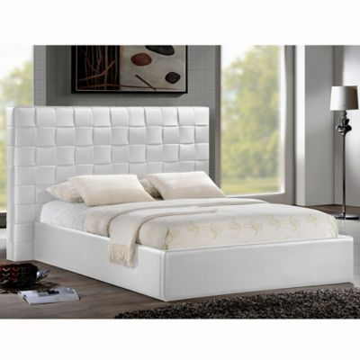 Baxton Studio Prenetta Queen Designer Platform Bed with Headboard in White