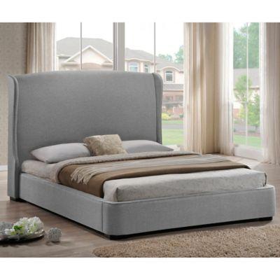Baxton Studio Sheila King Linen Platform Bed With Headboard In Grey