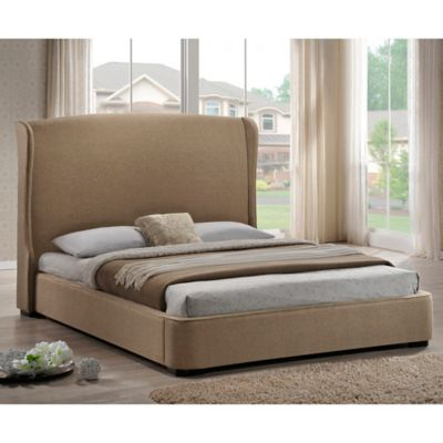 Baxton Studio Sheila Full Linen Platform Bed with Headboard in Grey