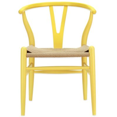 Modway Amish Wooden Armchair in Yellow