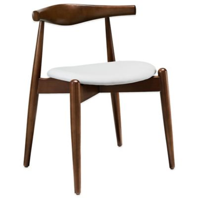 Modway Stalwart Dining Side Chair in Walnut/White